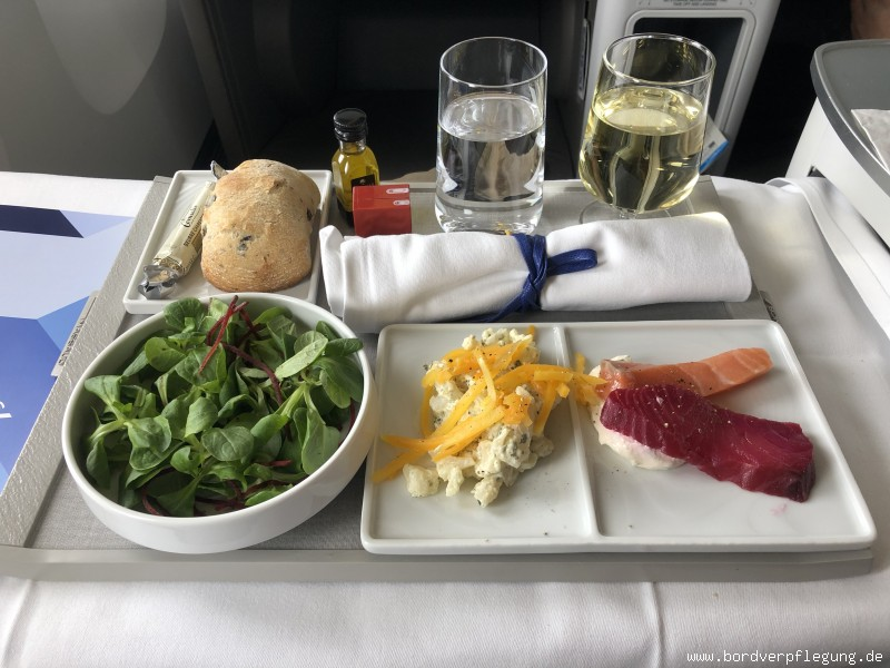 Mittagessen bei Air France in der Business Class