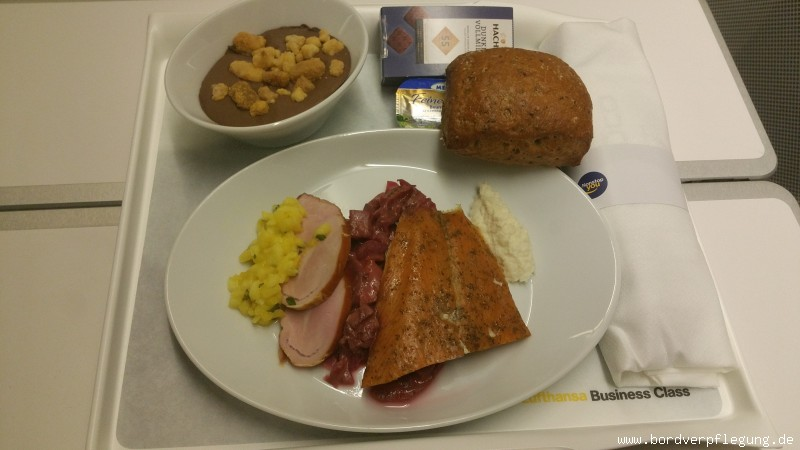 Abendessen bei Eurowings in der Business Class